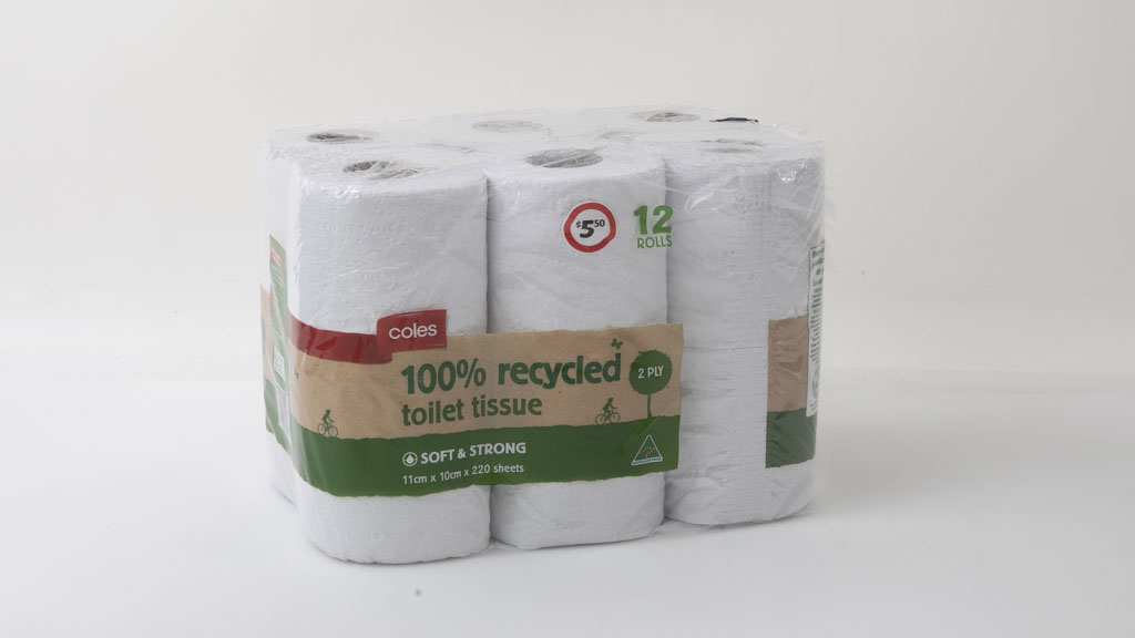 Coles 100% Recycled Toilet Tissue 2 Ply 12 Rolls carousel image