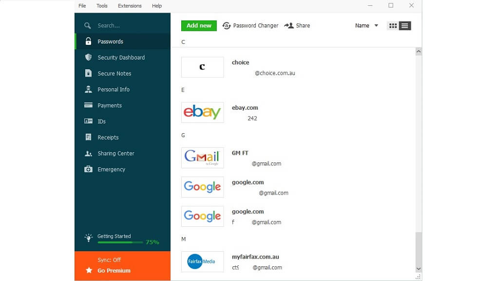 Dashlane password manager review : Percentage chart