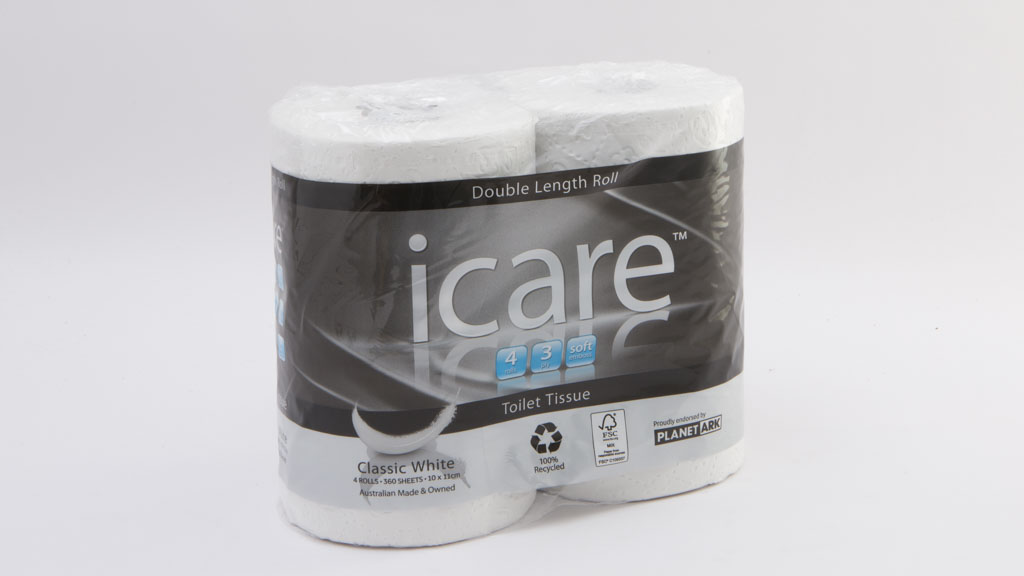 icare Double Length Roll 3 Ply Toilet Tissue Soft Emboss Classic White